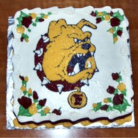 Ferris State Bulldog Birthday Cake 10 in square cake iced and decorated with buttercream.