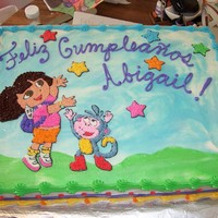 Dora And Boots 1/2 sheet, all buttercream.