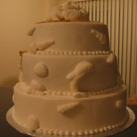 Sea Shell Themed Wedding Cake