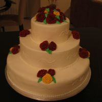 Burgundy & Ivory Roses 3-Tiered Wedding Cake