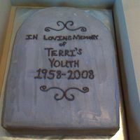"Terri's 50Th Birthday Cake  All chocolate sheet cake carved into a tombstone...my first ""carved"" cake...went pretty easy for my first time! Matching cupcakes..."