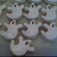 Ghost Cookies   Here are some ghost cookies I made for my sons daycare. Best Rolled Sugar cookies and Alices cookie icing, as always! THE BEST. Enjoy.