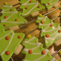 Christmas Tree Cookies Basic sugar cookie decorated with royal icing and sanding sugar.