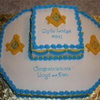 "Cake For Masonic Lodge  I made this cake for a dinner meeting for the lodge that my brother and son are members of.The base cake is baked in a corner cut 12""..."