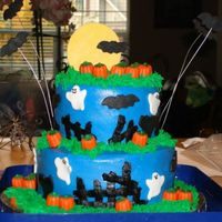 Halloween I made this cake last minute thank goodness for CC and the great decorators on here with great ideas. Really couldn't get a good pic...