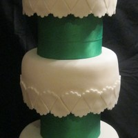 Thank You Girl Scout Volunteers This cake was made for a Girl Scout Volunteers Brunch. It is a 10in, 9 in. and 8 in. with 2 styrofoam seperators covered in ribbon.