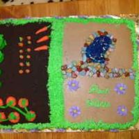 Garden Cake This was for a coworker leaving work who loved to garden. White cake with buttercream frosting. Marzipan veges, candy rocks