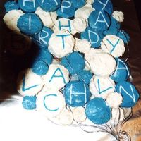 Blue And White Balloon Cake This was my first go at a cake in Sep 03, i thought i chose an easy one, but this took ages because it was all muffins and they had to be...