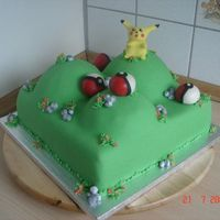 Pikachu And Pokeballs Birthday cake for my nephew who is crazy about the Pokemons.