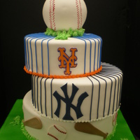Mets And Yankees Bar Mitzvah Cake This cake was for 2 Bar Mitzvah boys. One was a fan of the NY Mets. The other a fan of the NY Yankees. This was our solution.