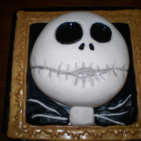 Jack Skellington, Picture Perfect I made this for my cousin who LOVES A Nightmare Before Christmas. It is chocolate cake and icing, covered in fondant. The frame is made of...