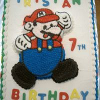 Mario This is a cut out Mario on top of a cake. The mushrooms are fondant