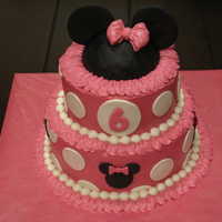 Minnie Mouse Made for a birthday party. Picture is a little dark, but there's a Minnie hat on top. Much inspiration from several cakes on this site...
