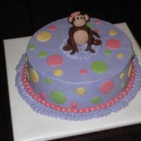 Monkey Cake Baby girl shower cake, made to for the nursery theme. Buttercream w/ fondant polka dots & monkey.