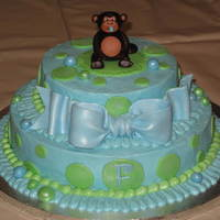 "Monkey Baby Shower 12"", 8"" tiered cake. Buttercream frosting with MMF decor. This is certainly inspired by tamivo's style. She's awesome,..."