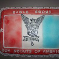 Eagle Scout Cake it is BC with airbrush red and blue and the eagle is MMF but the MMF is transparent I find so I made another out of fondant but it was too...