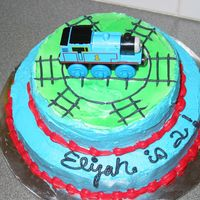 Thomas Cake I needed a small Thomas cake so this is what I came up with the Thomas was the childs. The tip about turning the frosting bright pink and...