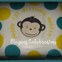 Mod Monkey First Birthday Boy Cake