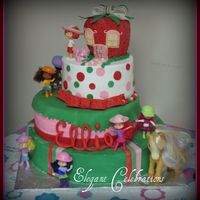 Strawberry Shortcake Stacked Cake With Figures