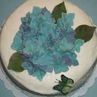 Gumpaste Hydrangeas & Leaves   Gumpaste Hydrangeas & Leaves. Buttercream Icing.