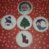 Christmas Cookies - Edible Image I topped these cookies with fondant and then the edible images.