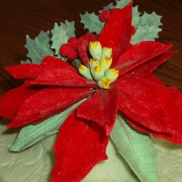 Gumpaste Poinsettia, Holly Leaves & Berries Gumpaste Poinsettia with Holly Leaves & Berries