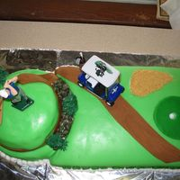 Golf Cake 13 x 9 chocolate cake with white cream filling, frosted and covered with colored fondant. 8 in round white with white cream, topped with 6...