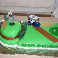Golf Brithday Cake 13 x 9 chocolate cake with white cream filling, frosted and covered with colored fondant. 8 in round white with white cream, topped with 6...