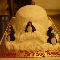 Penguin Birthday Cake   White cake, BC icing, fondant penguins.