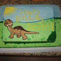 Land Before Time   Two tiered stacked with BC Icing.