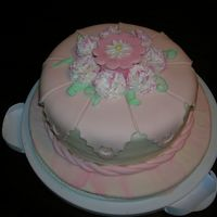 Fondant Gum Paste Course Cake white cake with pink fondant box and gum paste carnations.