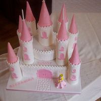 Fairy Castle fairy princess castle for my very own princess my three year old grandaughter.One eleven inch sponge top cake eight inch sponge turrets...