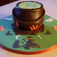 Coldren witches coldren for my grandaughters halloween party Chocolate spongethen covered in chocolate regal icing, the handle was also made out of...