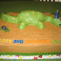 Dinosaur Cake This is a Dinosaur Cake I made for my son's birthday. MMF covered Dinoaur, Cake is iced with Buttercream icing.
