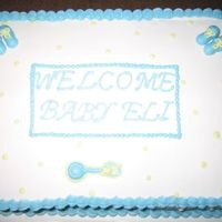 Simple Baby Cake Baby Cake with Buttercream Booties and Rattle