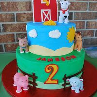 "Jameson's Birthday My grandson's birthday cake. We had a ""rolling farm"" come for his party. The kids had so much fun with the animals...."