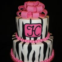 Heidi's Zebra Birthday Made this for my daughters best friend. Buttercream with fondant accents. Bow is 50/50 gumpaste-fondant.