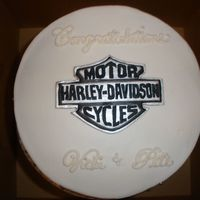 Harley Shower Made for one of the guys that works for my DH. He and his fiance rode their Harley from Miss to LasVegas and got married in a drive thru...