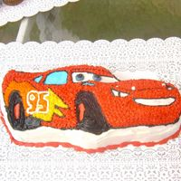 Lightening Macqueen My son wanted a Cars party before we had even seen Cars in the theatre. This was last year's birthday cake. It is yellow cake iced in...