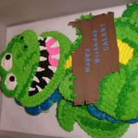 Hungry, But Not So Scary Alligator  This is a slightly redesigned version of a wilton dragon cake I did for a little boy's b-day. Just iced like stripes instead of spots...