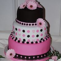 Pink And Brown Birthday Cake Pink and brown cake I made for my 40th birthday party. It is fondant with gum paste gerbera daisies.