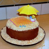 Beach Birthday Cake Birthday cake for my mom who loves the beach. I had planned to use BC tinted yellow and sprinkled with brown sugar to ice the cake, but she...