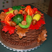 Fall Basket Of Gourds BC basketweave with handpainted fondant gourds/acorns/leaves.
