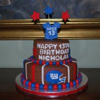Ny Giants Birthday Cake NY Giants themed birthday cake for 13 year old boy. Chocolate BC with fondant decorations.