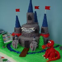 "Knights And Castle Castle cake for my twin boys' knight themed birthday party. 6"" and 9"" cakes. The towers and top center tower are rice cereal..."