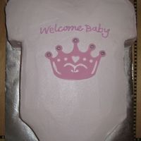 Onesie Onesie to match invitations for baby shower. BC with fondant crown and snaps.