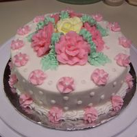 Flower Cake   My final cake from Wilton Course I!