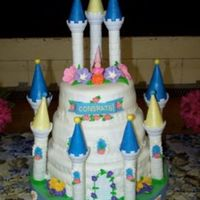 Castle Cake  This cake was done for a retirement party at an elementary school; 5 teachers and the principal were retiring and they had a big open house...