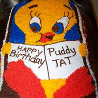 Tweety Bird   This was a cake I did for a little girls Birthday. She LOVES Tweety. I found this pan on Ebay - Wilton 1978.