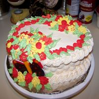 Wilton Course Ii Cake  My final cake from Wilton Course II! I didn't like the bird, so I traced a butterfly instead for the colorflow piece. I know there&#...